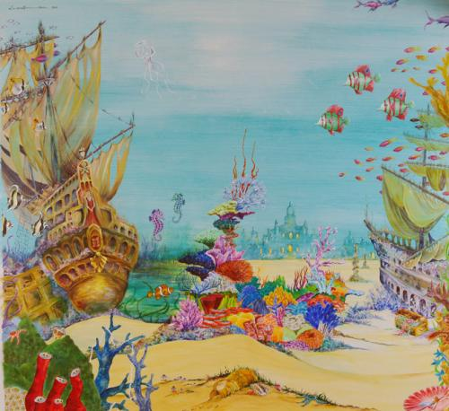 Fantasy Under the Sea World. Acrylic on Plaster 200cm x 200cm