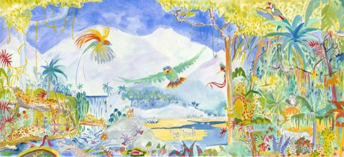 Jungle mural, approximately   609cm x 243cm