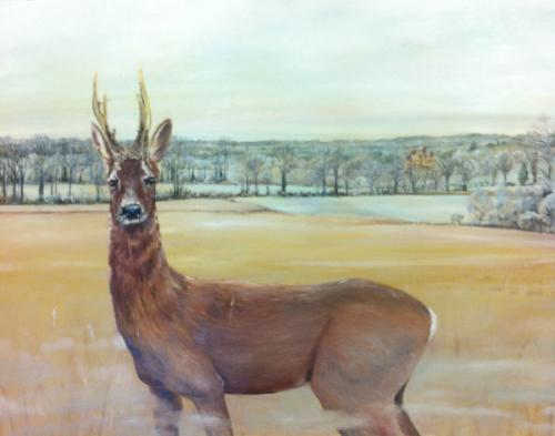 Winter Deer. Oil on Canvas