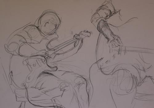 Guitar lesson 3. Pencil. 42 x 28cm.