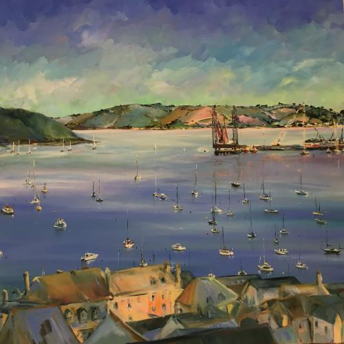 Falmouth Harbour Oil painting Square 120x120cm SOLD 022