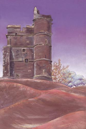 Donnington Castle Chalk Pastel, 72cm x 55cm framed