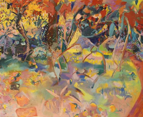 Fox Rose Hill Gardens in summer. Oil on Canvas.145 x125cm
