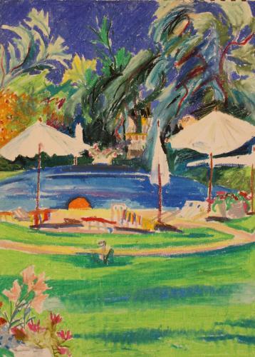 Penina Pool. Oil Pastel on Paper. 30 x 21 cm