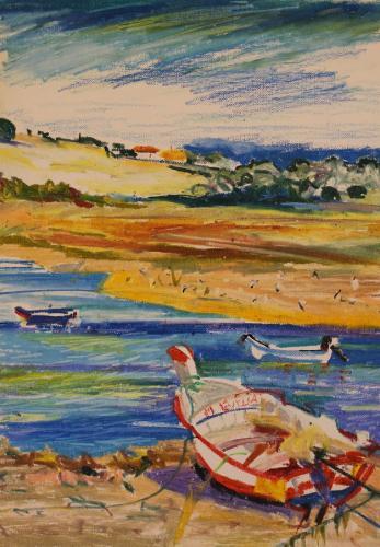 Portuguese Boat. Oil Pastel on Paper. 30 x 21 cm