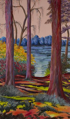 South Lake, Woodley. Oil on Canvas, 151cm x 90cm