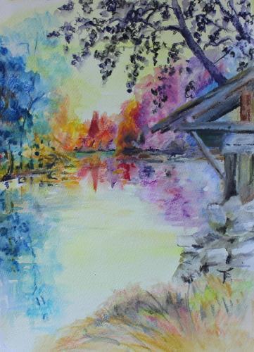 Montigny sur Loing. watercolouron paper. 36 x 26cm