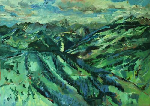 Summer view from Schmittenhöhe. Oil on canvas sheet.  36 x 25cm
