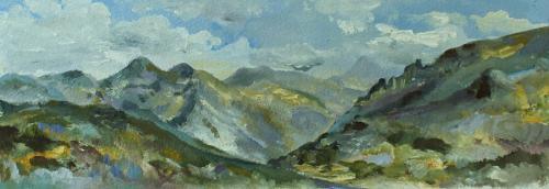 Sunny day, Saalfelden. Oil on Paper. 36  x 13cm