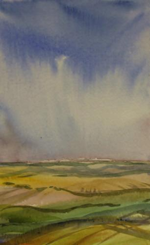 Towards Inkpen. watercolour 20 x 13cm