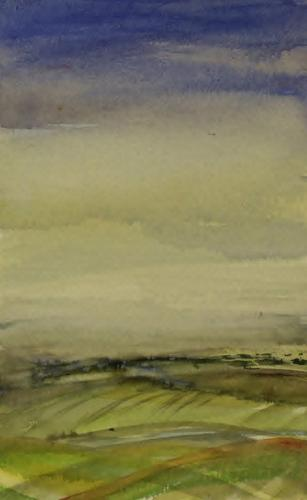 Towards Inkpen misty morning. 20 x 13cm