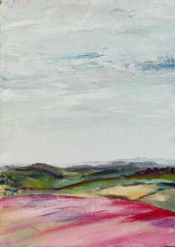Towards Watership Down. Oil on Board 18 x 13cm