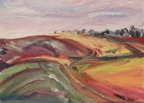 Towards Watership Down evening. 18 x 13cm