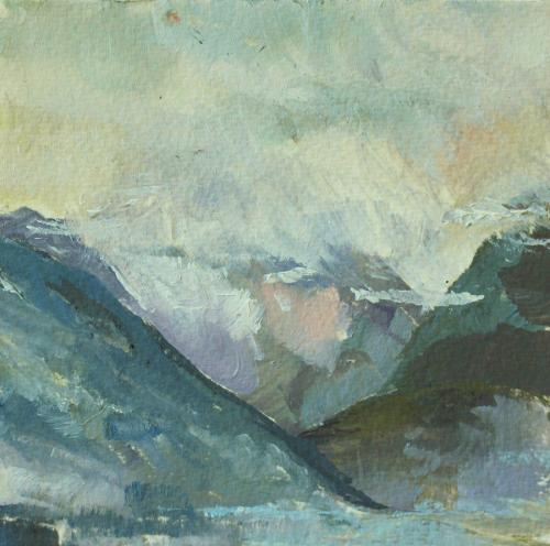 Towards Zell am See. Oil on Paper. 13 x13cm