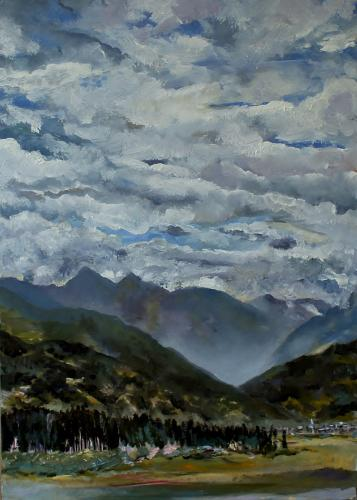 Towards Zell am See Mist. Oil on Board. 26 x16cm SOLD