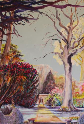 Tregrehan Gardens. Mixed Media. 90 x 64cm.