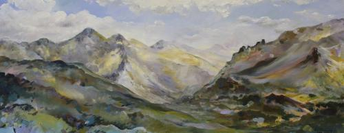 View to Zell am See. Oil on Canvas 114 x54cm