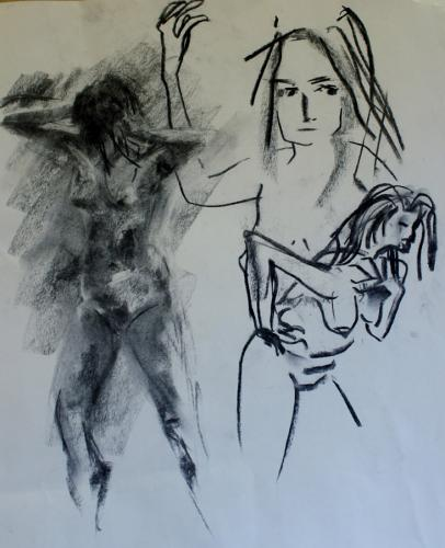 Conflict. Charcoal. 53 x 50cm