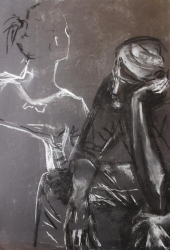 Contemplation. Charcoal and Chalk. 42 x 28cm