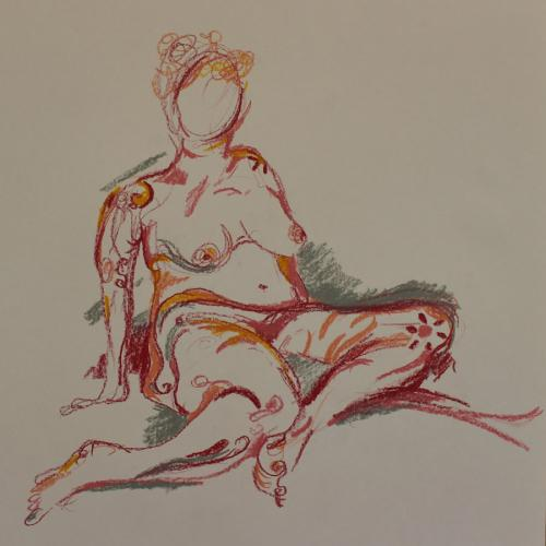 Daisy, Oil Pastel.  45 x 45cm