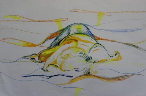 Flo. Oil Pastel. 64 x 45cm