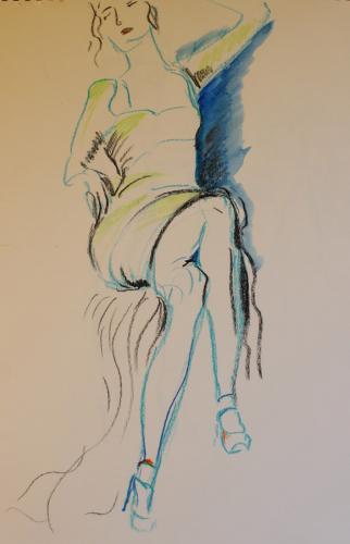 Hello. Aqua pastel. 40 x 30 cm. IMG 2131