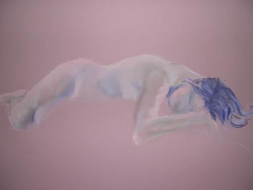 Pink Recline Chalk pastel, 59cm x 84cm SOLD