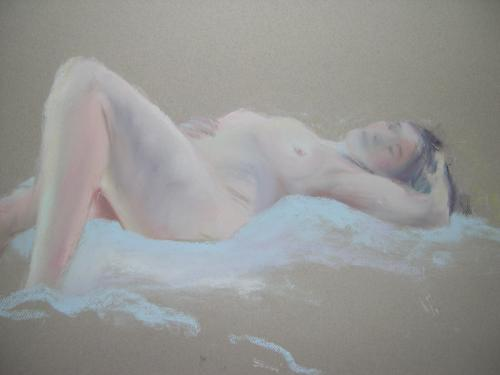 Recline. Chalk Pastel on Paper, 84cm x 64cm